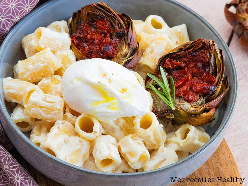 Rigatoni au parmesan et artichauts rôtis
