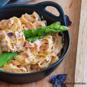 recette healthy-tagliatelle aux asperges-parmesan-crème-pate-tagliatelles
