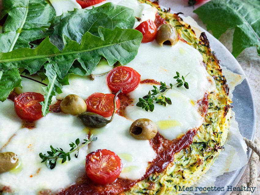 recette healthy-pizza aux courgettes-tomate-mozzarella-fromage-capre