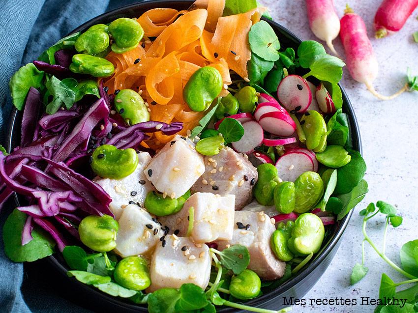 Poke bowl healthy au cresson et au thon
