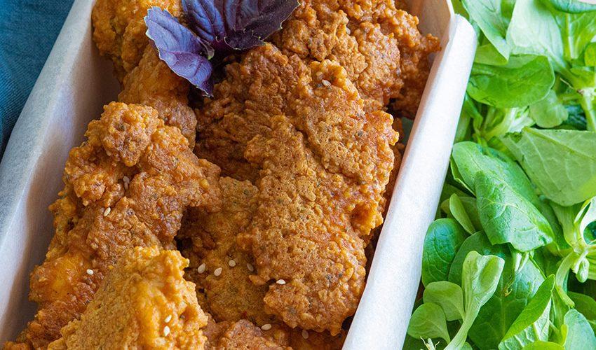 recette healthy-poulet pané-sauce tomate-herbe-nuggets