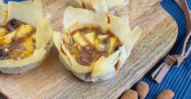 recette healthy-tartelette feuilletée-pomme-amande-chocolat légère