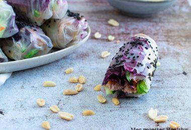 recette healthy-rouleau de printemps-chou rouge-cacahuète