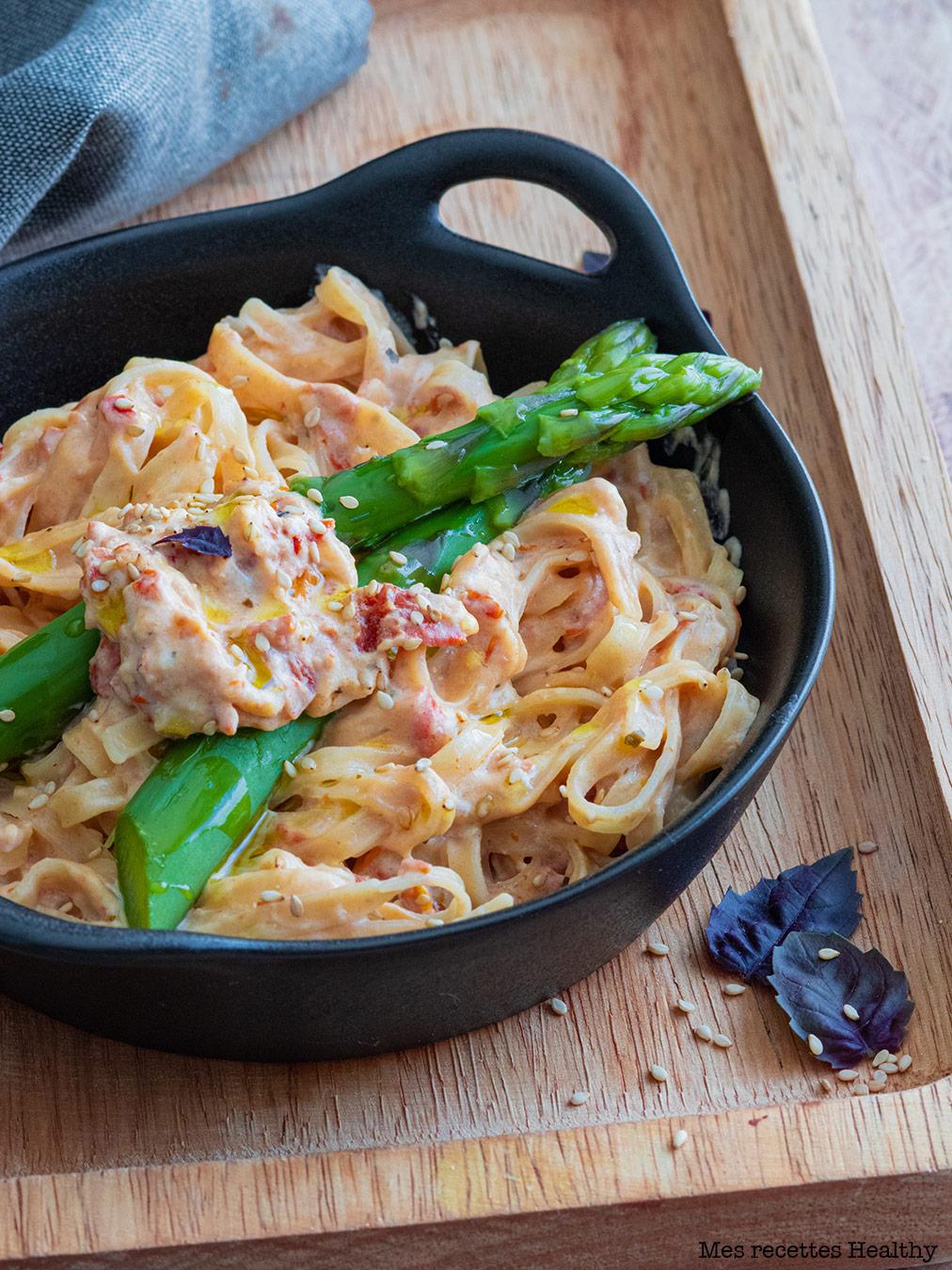 recette healthy-tagliatelle aux asperges-parmesan-crème-pate