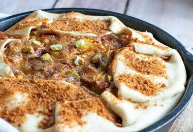 recette healthy-tarte pomme rhubarbe-poêle-fondante-cacahuète-sans beurre