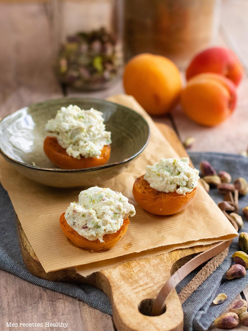 recette healthy-abricot farci-pistache-fromage frais