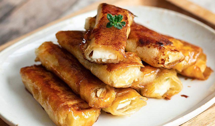 recette healthy-brick de feta-miel-amande-thym-apero-aperitif
