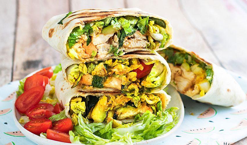 recette healthy-poulet mariné-burritos-burrito-wrap-tortillas-courgette-legume