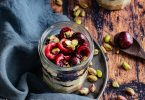 recette healthy-cheesecake pistache et cerise noire-mascarpone-ricotta-verrine-emporter