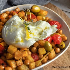 recette healthy-pois chiches rôtis-olive-pommes de terre-grillade-mozzarella