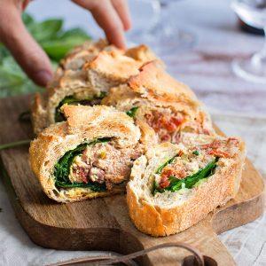 recette healthy-baguette farcie-tomate confite-olive-thon-fromage frais-apero