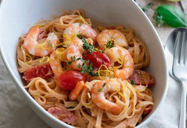recette healthy-tagliatelle de crevette-sauce creme-crevettes