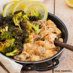 recette healthy-poulet à la crème et brocolis-parmesan-tomate
