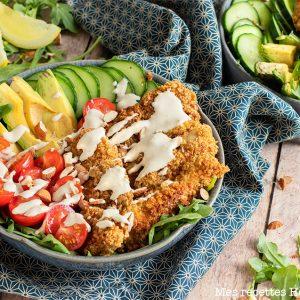 salade césar-recette healthy-nuggets poulet-crudité-parmesan
