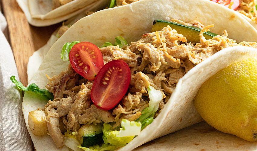 recette healthy-tacos au poulet-poulet effiloché-biere-moutarde-salade-wrap