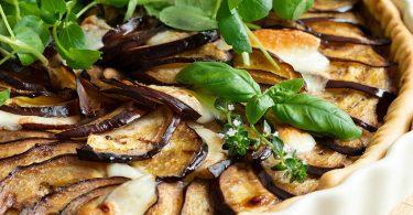 recette healthy-tarte à l'aubergine-tomate-mozzarella