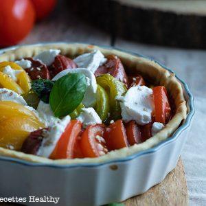 recette healthy-tarte à la tomate-confit d'oignon-tomate couleur-quiche tomate