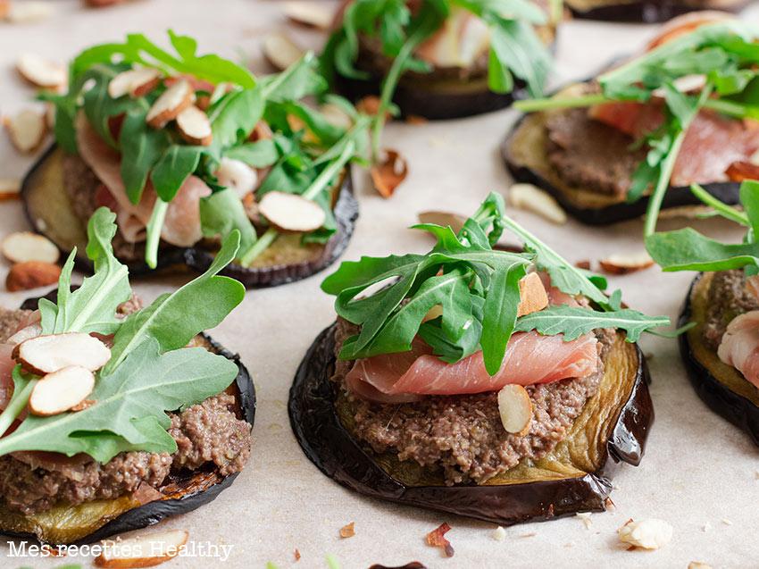 recette healthy-tartine d'aubergine-tapenade maison-amande-jambon-aperitif