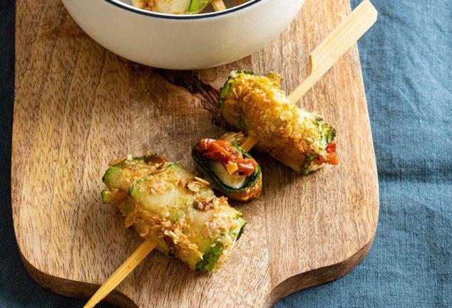 recette healthy-brochette de courgette-mozzarella-pané-aperitif-apero-fromage