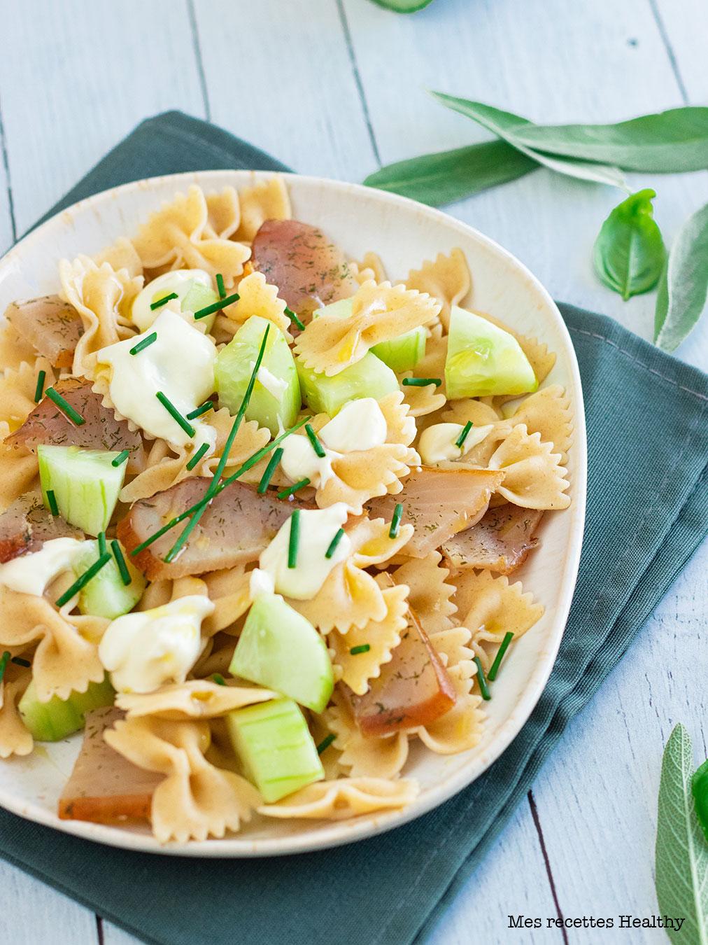 recette healthy-pâte au thon fume-concombre-mozzarella