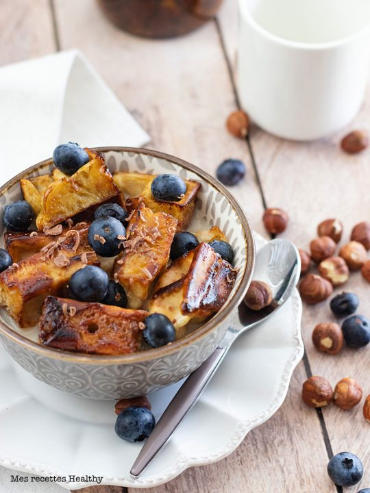recette healthy-gaufre comme des céréales-caramel-beurre-fruit-petit déjeuner