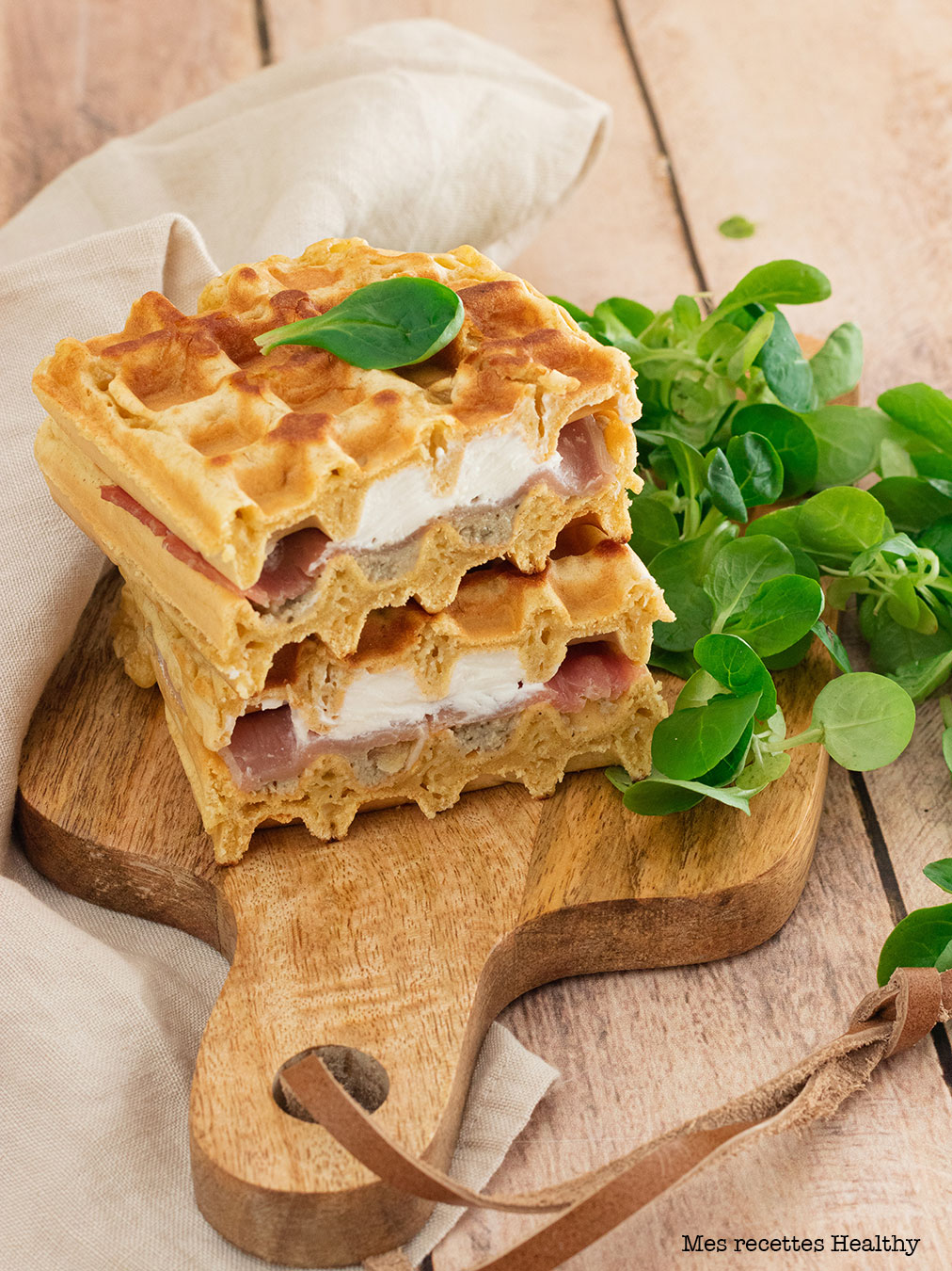 recette healthy-gaufre croque monsieur-fromage frais-