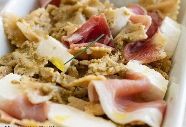 recette healthy-salade de pâte-farfale-pesto-jambon cru-
