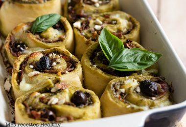 recette healthy-pizza roulée au pesto-jambon-mozzarella-fromage-olive