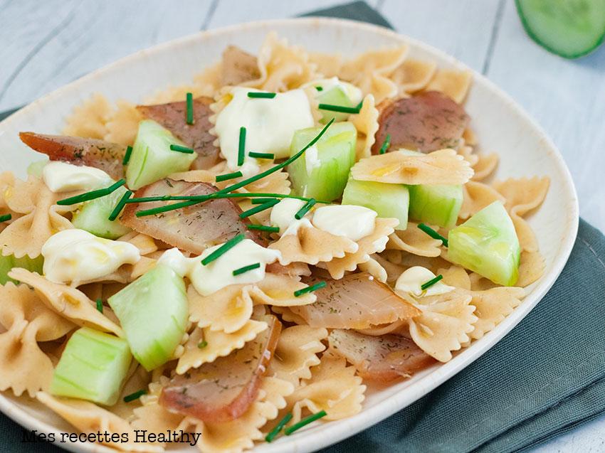 recette healthy-pâte au thon fume-concombre-mozzarella-salade de pâte au concombre
