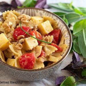 recette healthy-salade de pâte à la tomme-moutarde-miel-tomate