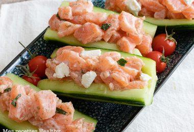 recette healthy-concombre-saumon-fromage de chèvre frais-salade-entree