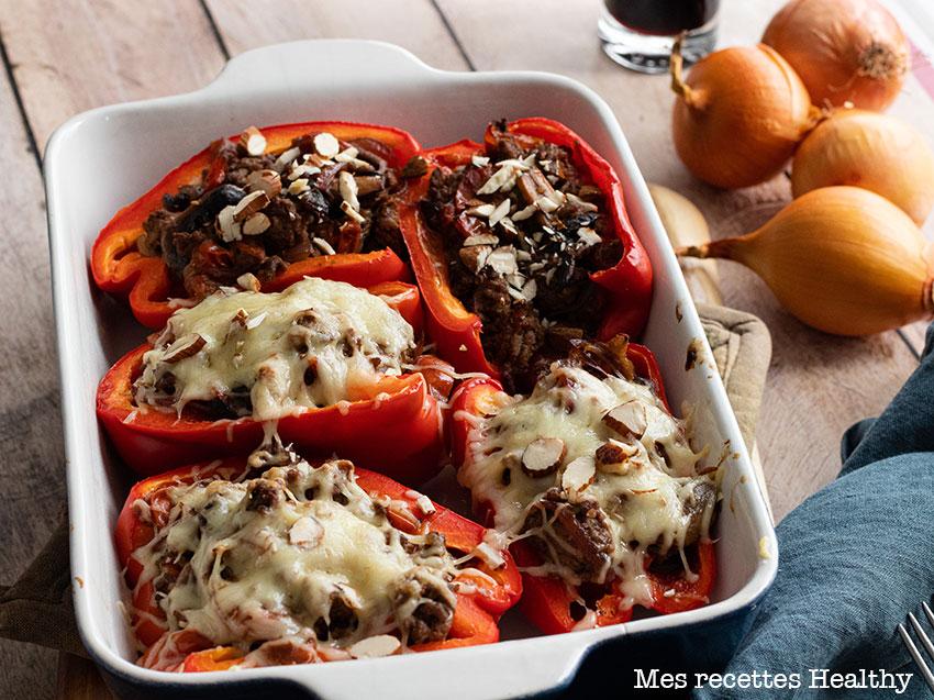 recette healthy-poivron farci-boeuf haché-fromage-oignon
