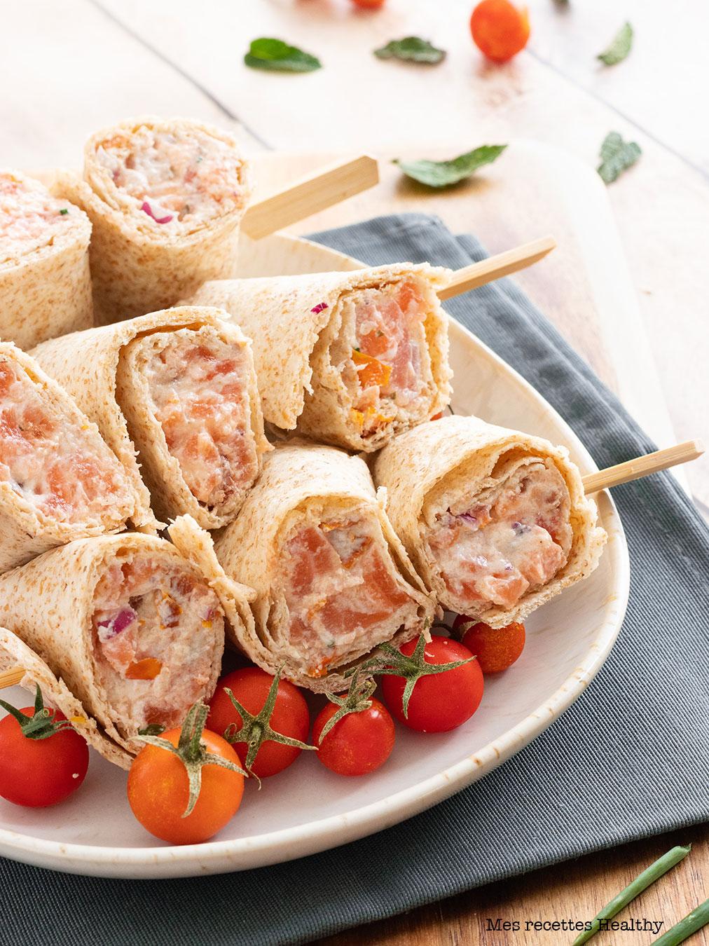 Wrap roulé au saumon et tomate confite