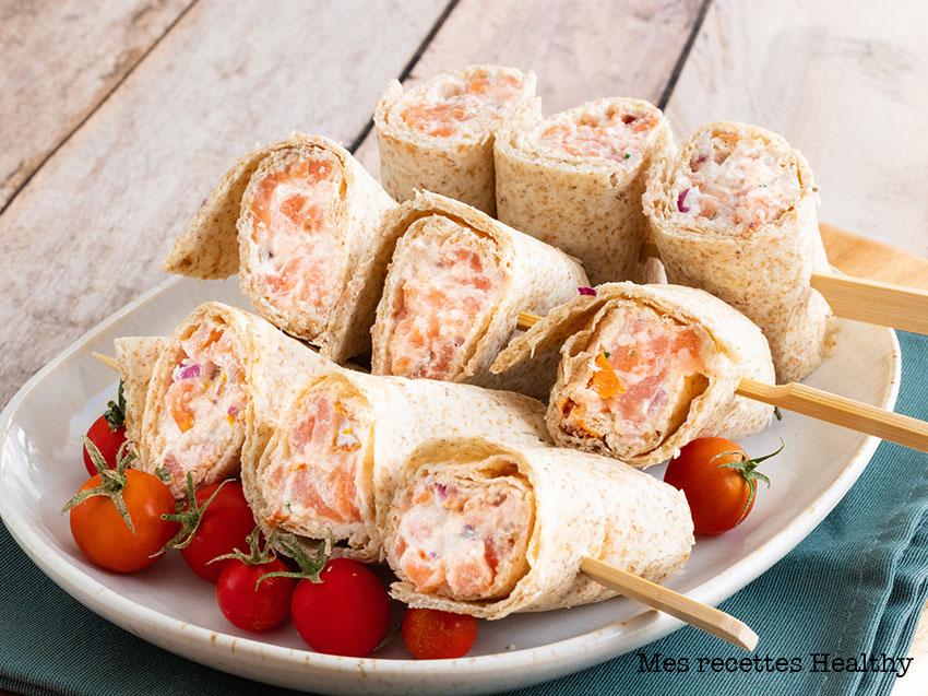 recette healthy-roulé au saumon-yaourt-tomate séchée-ciboulette