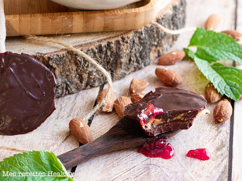 recette healthy-chocolat fourre-confiture framboise-beurre de cacahuète