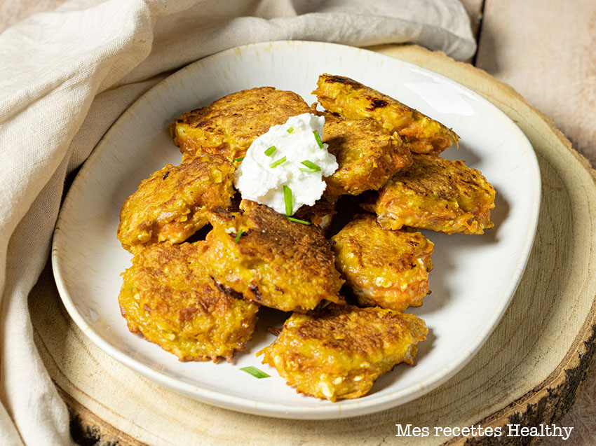 recette healthy-croquette de patate douce-fromage de chèvre-galette