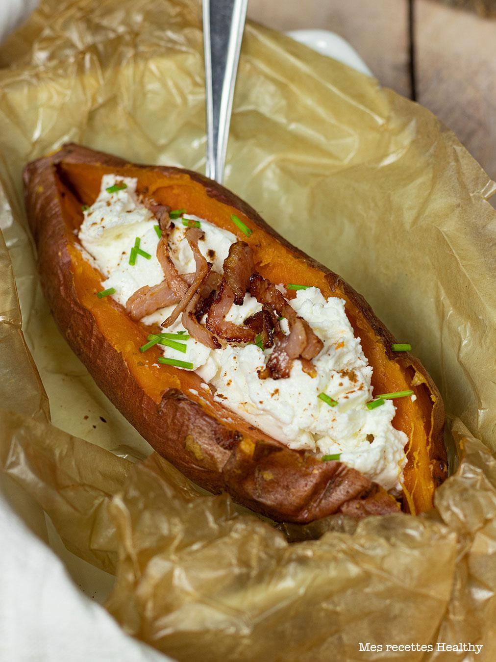 recette healthy-patate douce en robe des champs-fromage de chèvre-creme-bacon