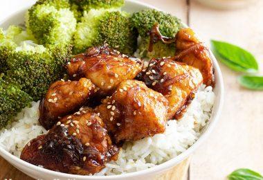 recette healthy-poulet-soja-sesame-riz-brocolis-poulet laque