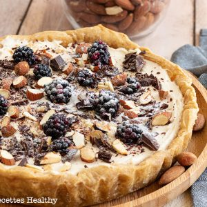 recette healthy-tarte cheesecake-vanille-chooclat-amande-fromage frais