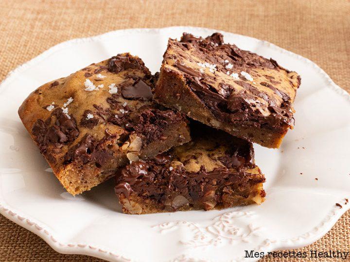 recette healthy-blondie banane-chocolat-cacahuète