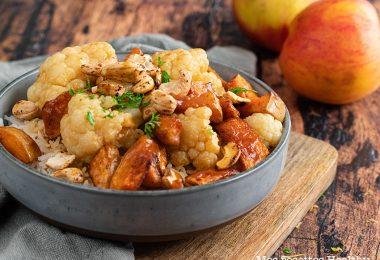 recette healthy-chou fleur-sauce soja-miel-carotte-cajou-legume