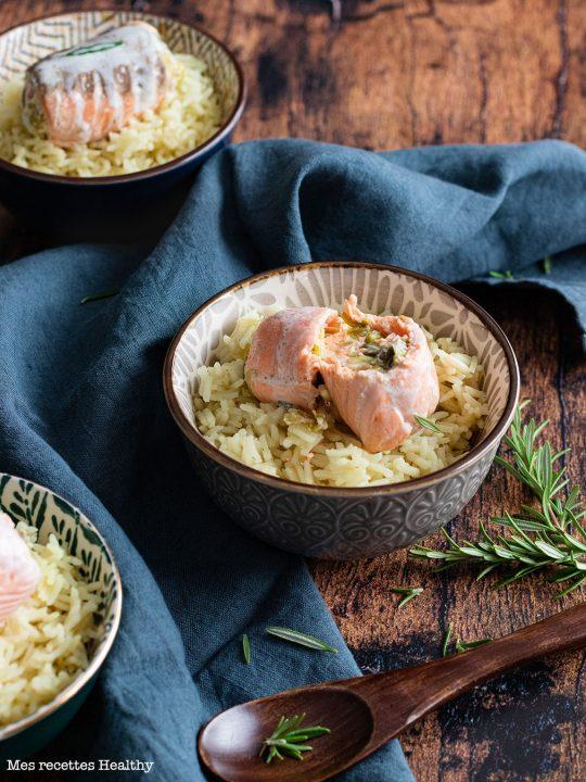 recette healthy-paupiette saumon-poisson-fondue poireau-creme-legume
