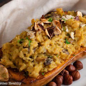 recette healthy-butternut farci-risotto-chevre-champignon-bouillon de legume