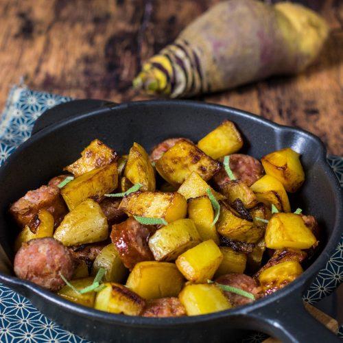 recette healthy-poêlé de diot-rutabaga-pomme de terre-saucisse-savoie