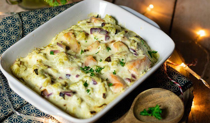 recette healthy-gratin saumon-chou romanesco-creme