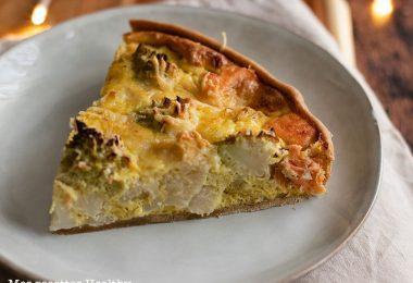 recette healthy-quiche saumon-chou romanesco-chou fleur-tarte