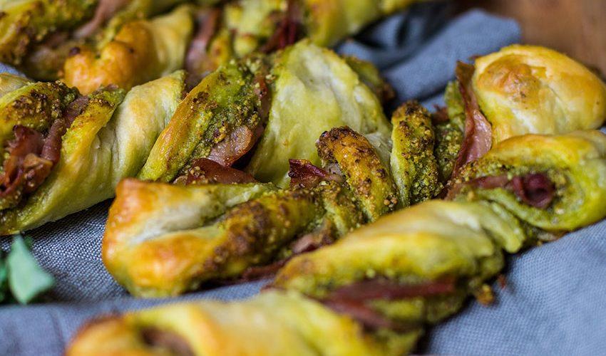 recette health-feuilleté-pesto de sale-jambon-parmesan