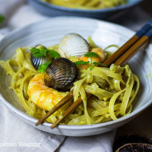 recette healthy-nouille chinoise-coque-coquillage-crevette