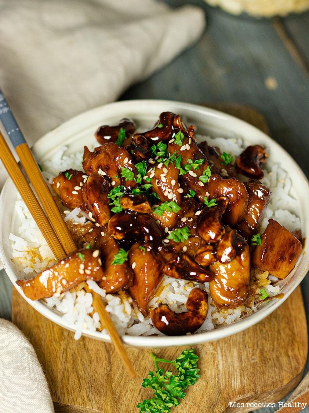 recette healthy-poulet laqué au soja-poulet caramel-poulet miel