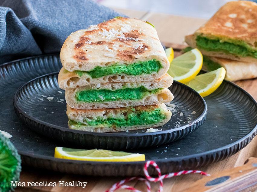 recette healthy-naan farci au brocoli-parmesan-fromage-quesadillas
